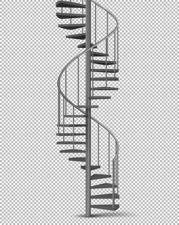 Metal spiral, helical staircase on pillar with tube railings and wooden stairs 3d realistic vector illustration isolated on transparent background. House interior, building exterior design element 向量圖像