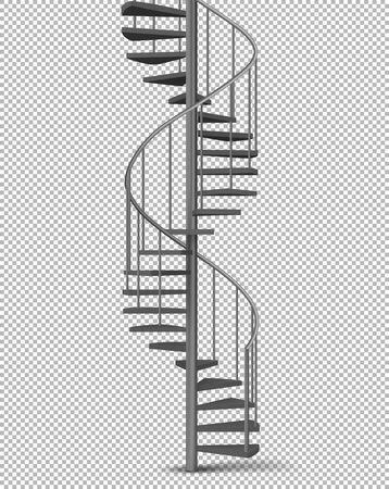 Metallspirale, Wendeltreppe auf Säule mit Rohrgeländern und Holztreppen 3D-realistische Vektorgrafik einzeln auf transparentem Hintergrund. Hausinnenraum, Gebäudeaußengestaltungselement