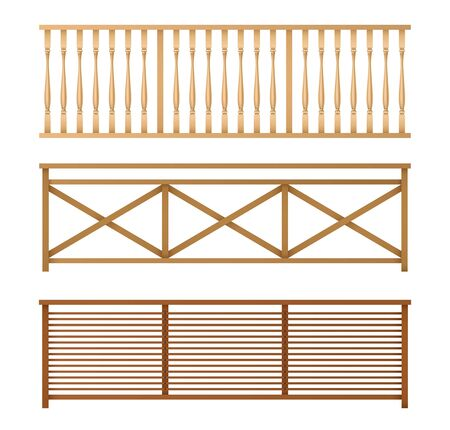 Wooden fences, handrail, balustrade sections with rhombus and grates patterns isolated, 3d realistic vector illustrations set. Balcony, stairway or terrace fencing. House interior design elements