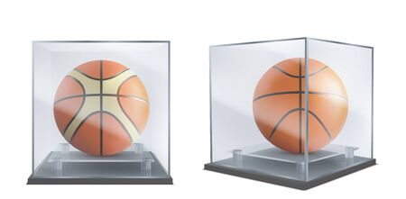 Basketball balls under glass cases front, side view 3d realistic vector isolated on white background. Sport inventory shop showcase, basketball team historical museum exhibition showpiece illustration