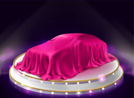 Car presentation, auto covered with veil stand on illuminated stage with searchlights. New luxury automobile lottery prize or gift under pink silk cloth in showroom. Realistic 3d vector illustration