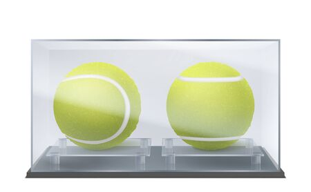 Tennis balls in glass or plastic case, sports game trophy or prize in protective transparent container isolated on white background. Racket sport inventory mockup. Realistic 3d vector illustration