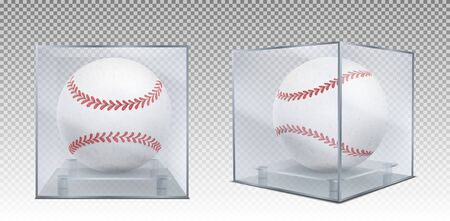 Baseball balls in glass case front and corner view. Sports game trophy, prize in plastic box for display isolated on transparent background. Tournament sport equipment Realistic 3d vector illustration