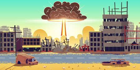 Nuclear bomb explosion in ruined city. Fiery mushroom, cloud of atomic bomb detonation raising under ruins. Mass destruction weapon in war conflict, nuclear catastrophe cartoon vector illustration Illustration