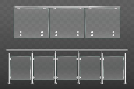 Glass balustrade with metal handrails set. Banister or fencing sections with steel pillars. Panels balusters for architecture design isolated on transparent background Realistic 3d vector illustration
