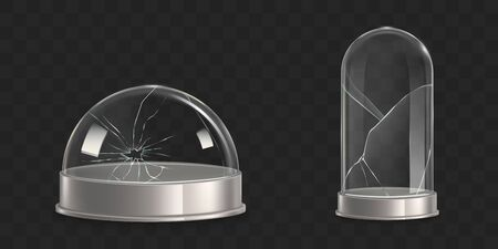Broken waterglobe, cracked empty, glass dome, damaged bell jar 3d realistic vector isolated on transparent background. Shattered museum exhibit dust cover, crushed store showcase illustrations set Ilustração