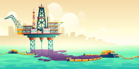 Oil spill accident on sea drilling rig platform cartoon vector illustration. Filters cleaning up oil stains on water surface. Technogenic catastrophe, ecological, environmental disaster liquidation Standard-Bild - 137950254