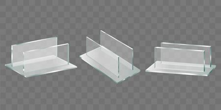 Acrylic glass table talker, plastic holder for advertising brochures, promotional banners and leaflets. Restaurant menu, shop price tag stand 3d realistic vector set isolated on transparent background Ilustrace