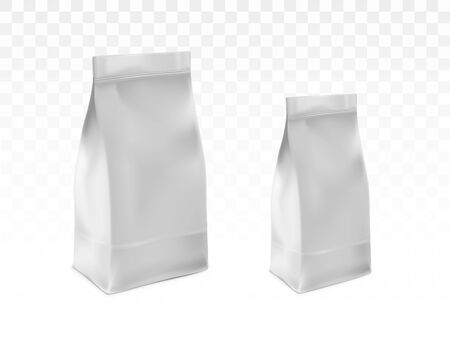 Sealed plastic, paper bag template set. Blank white, foil packet for tea, coffee or flour pack 3d realistic vector illustration isolated on transparent background. Pet food, detergent packaging mockup
