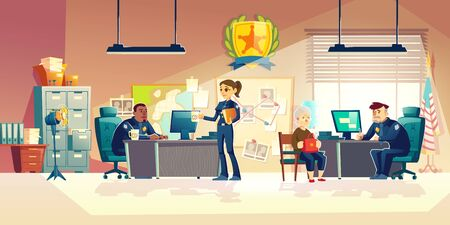 Police officers working in police station office interior, detective sitting at work desk, patrolwoman questioning granny, asking questions witness or victim of crime cartoon vector illustration