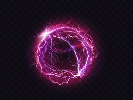 Electric ball, lightning circle strike impact place, plasma sphere in purple color isolated on dark background. Powerful electrical discharge, magical energy flash. Realistic 3d vector illustration Ilustracja
