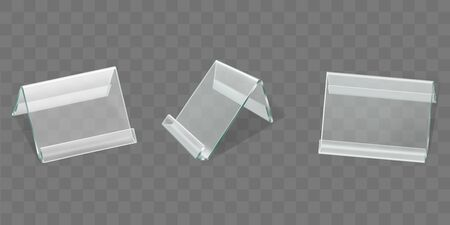 Acrylic table tent displays set, glass or plastic card holders isolated on transparent background. Empty plexi stands mock up. Clear plexiglass tag mockup, photo frame Realistic 3d vector illustration