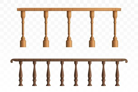 Wooden balustrade, balcony railing or handrails set. Banister or fencing sections with decorative pillars. Panels balusters for architecture design isolated elements. Realistic 3d vector illustration