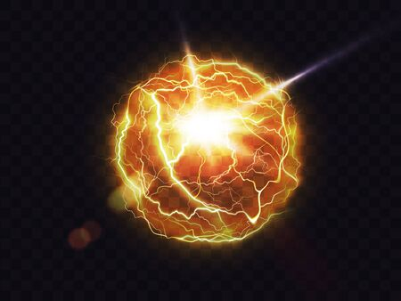 Electric ball, lightning fireball, strike impact place, plasma sphere in yellow color isolated on dark background. Powerful electrical discharge, magical energy flash Realistic 3d vector illustration Ilustrace