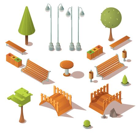 Isometric park set. Benches, trees, wooden bridges, litter bins design elements isolated on white background. City units icons for town street architecture decoration. 3d vector illustration, clip art