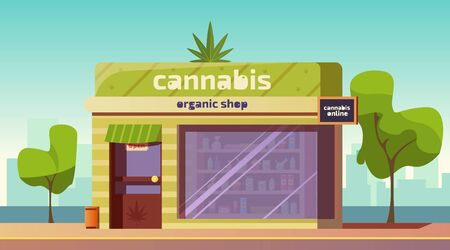 Cannabis store, marijuana organic shop building front view with equipment and accessories for smoking standing on showcase, cbd products online order service, weed purchase Cartoon vector illustration Ilustrace