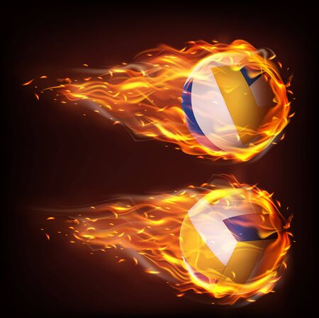 Volleyball balls flying in fire, falling in flame side view isolated on black background. Sport inventory store ad, competition or tournament promotion design element. Realistic 3d vector illustration Ilustrace