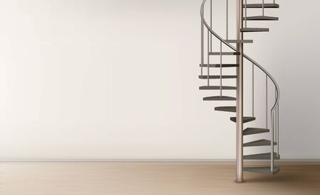 Spiral staircase in empty home interior with clean wall and floor, metal helical round ladder on pillar with tube railings and wooden stairs. Modern room design. Realistic 3d vector illustration
