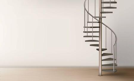 Wendeltreppe im leeren Wohninnenraum mit sauberer Wand und Boden, Metallwendeltreppe auf Säule mit Rohrgeländer und Holztreppe. Modernes Raumdesign. Realistische 3D-Vektorillustration