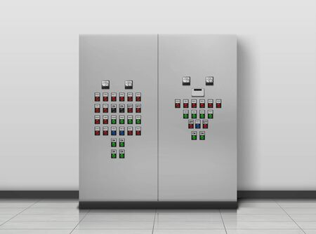 Substation room. Electrician equipment, technical generator. Transformer to increase or decrease voltage of electric current and control panel with on and off buttons Realistic 3d vector illustration