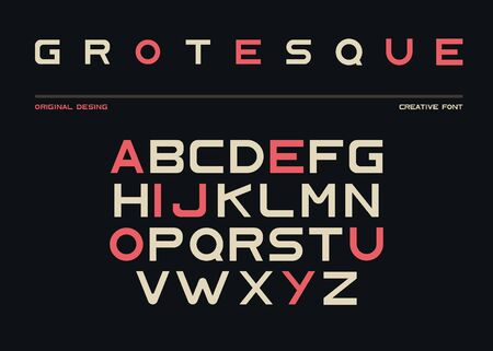 Latin alphabet, sans serif font in grotesk retro style. Abc uppercase letters on black background, typeface for posters and banners typography. Duotone elements, signs, symbols. Vector illustration Ilustração
