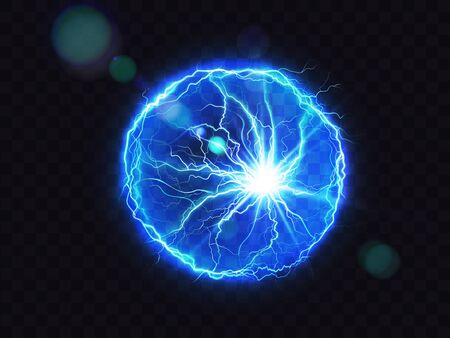Electric ball, vector lightning circle strike impact place, plasma sphere in blue color isolated on dark background. Powerful electrical discharge, magical energy flash. Realistic 3d illustration Ilustracja