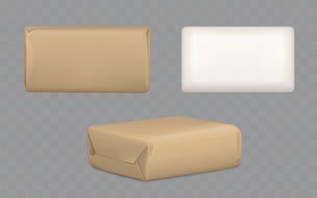 Parcel package boxes wrapped to brown and white paper top and side view, vector blank packaging mock up for post mailing, isolated shipping cardboard containers. Realistic 3d illustration, clip art