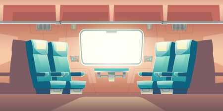 Train inside interior, empty railway car with comfortable double seats, hinged table buttons panel near large window, luggage compartment storage above. Commuter transport. Cartoon vector illustration Ilustração
