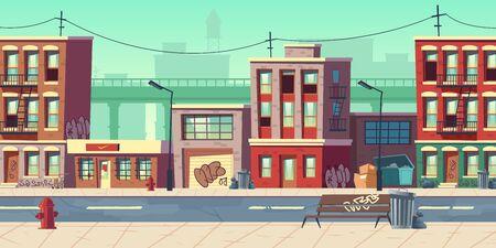 Calle de la ciudad sucia, barrio de tugurios del ghetto vacío con casas pobres, edificios con paredes garabateadas se encuentran al lado de la carretera con papeleras llenas de basura y bolsas de basura alrededor de la ilustración vectorial de dibujos animados