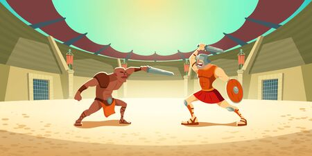 Gladiator fighting with barbarian on coliseum arena, ancient roman armored spartan warrior and dark-skinned moor fight on swords, greek soldier with shield battle show. Cartoon vector illustration  イラスト・ベクター素材