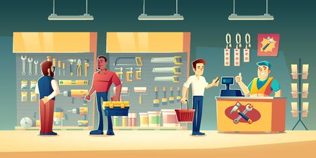 Customers in tools store, hardware construction shop buyer communicate with salesman near showcase shelves with diy instruments for carpentry works. Man pay on counter desk Cartoon vector illustration Ilustrace