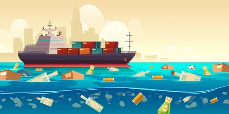 Pacific ocean plastic garbage pollution, container ship moving by trash floating in dirty underwater surface. Sea polluted water. Planet ecological and recycling problems. Cartoon vector illustration
