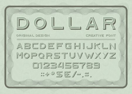 Money font, dollar latin alphabet, numbers and punctuation sans serif in vintage style. Abc uppercase letters on green bill note background typeface signs and typography characters Vector illustration