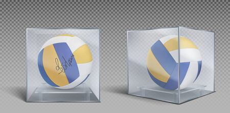 Volleyball balls with signature in glass or plastic case set. Sports game trophy or prize in protective container, sport accessory in box isolated icons. Realistic 3d vector illustration, clip art