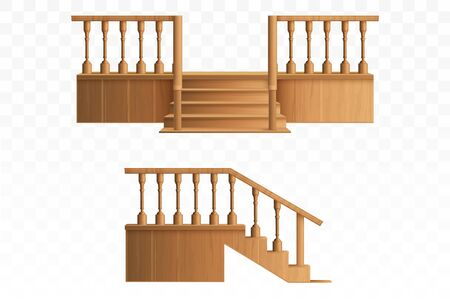 Porch from wooden balustrade isolated on transparent background side and front view. External staircase with decorative pillars for entrance to house, architecture. Realistic 3d vector illustration