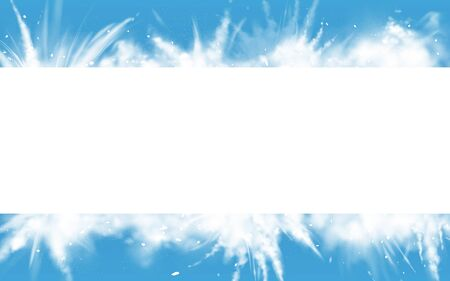 Snow powder white explosion empty horizontal banner on blue background, ice or snowflakes splash clouds border for christmas and new year holidays promo, greeting card Realistic 3d vector illustration