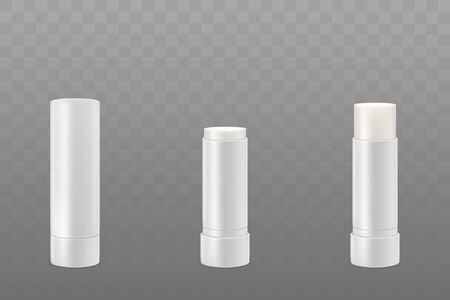Lip balm sticks or hygienic lipstick cosmetic packaging set. White blank closed and opened tubes isolated on transparent background. Design template mockup. Realistic 3d vector illustration, clip art