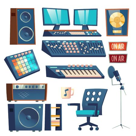 Studio sound recording equipment set isolated on white background. Mounting control panel equalizer and monitors, synthesizer, microphone , dynamics, on air warning sign. Cartoon vector illustration Иллюстрация