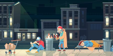 Homeless people in ghetto. Beggars and bums in ragged clothing sleeping on street, warming near barrel with fire, drinking alcohol, collecting garbage. Poor need help. cartoon flat vector illustration