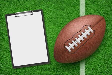 Rugby ball and clipboard lying on stadium green grass top view. American football sports strategy and game plan for playing championship competition, coach blank note. Realistic 3d vector illustration Ilustração
