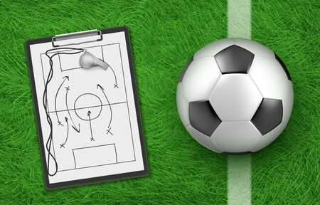 Soccer tactic, football ball and clipboard with coach drawings on stadium green grass, team defence game strategy in tournament or team competition, clip board with Realistic 3d vector illustration Illustration
