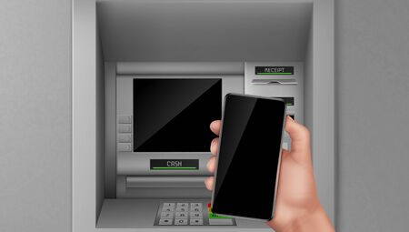 Atm and smartphone, hand holding mobile phone at automated teller machine screen. Nfc payment service online transaction and operation with money Bank finance terminal Realistic 3d vector illustration