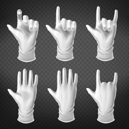 Hand gestures in different positions. Human palm dressed in white glove show, pointing, holding and represent fingers rock symbol isolated on transparent background. Realistic 3d vector illustration
