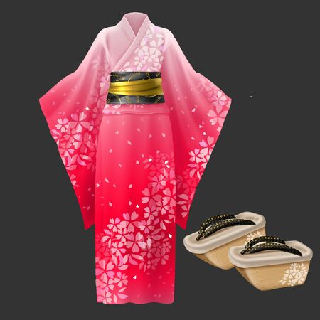 Kimono and geta, yukata traditional japanese woman dress and wooden footwear isolated on black background. Cotton clothing with long sleeves, floral print, wide belt. Realistic 3d vector illustration
