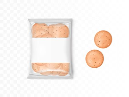Clear plastic package with round crackers. Vector mockup with realistic cookies in packet and two biscuits isolated on transparent background