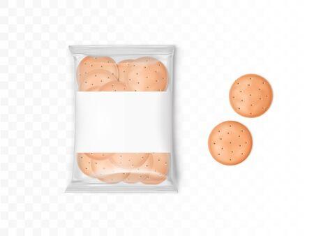 Confezione in plastica trasparente con cracker rotondi. Mockup vettoriale con biscotti realistici in pacchetto e due biscotti isolati su sfondo trasparente Vettoriali