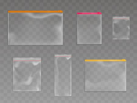 Plastic zip bags set, empty pouches of various sizes and zipper colors isolated on transparent background. Waterproof disposable blank packages mock up. Realistic 3d vector illustration, clip art