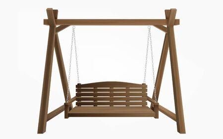 Wooden porch swing hanging on frame with chains isolated on white background. Vector swing bench furniture for outdoor, garden and patio