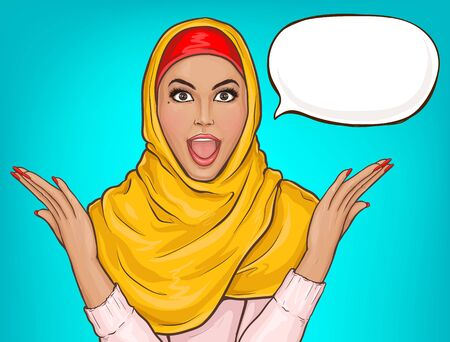 Arabic woman in hijab shocked. Suprised muslim girl in yellow veil with open mouth. Vector pop art illustration with speech bubble on blue background