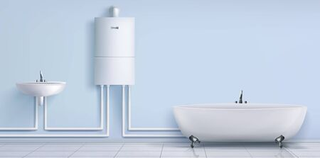 Bathroom with boiler water heater connected with washbasin and tub. Empty bath room interior with tiled floor and blue wall. Home appliances, central heating system. Realistic 3d vector illustration